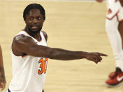New York Knicks' Julius Randle directs his teammates in the second quarter of an NBA basketball game against the Charlotte Hornets at Madison Square Garden, Saturday, May 15, 2021, in New York. (Elsa/Pool Photo via AP)