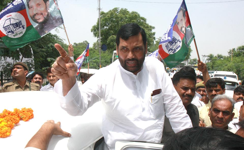 Union Minister for Consumer Affairs, Food and Public Distribution, Ram Vilas Paswan, breathed his last on October 8. Paswan had undergone heart surgery on October 4 after battling a cardiac ailment for two months. <br>One of the foremost Dalit leaders of Bihar, the founder of the Lok Janshakti Party (LJP) had been a Cabinet minister in almost all Central Governments formed since 1989. <br>RJD leader Lalu Prasad Yadav had described him as <em>'mausam vaigyanik'</em> or weather scientist for his ability to read the situations and always go with the winning side. <br><em><strong>Image credit: </strong></em>Lok Janshakti Party President Ramvilas Paswan on their way to Greater Noida where four persons were killed during a farmers agitation, on August 19, 2008 in New Delhi, India. (Photo by Arvind Tadav/Hindustan Times via Getty Images)
