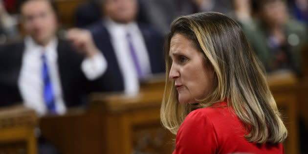 Minister of Foreign Affairs Chrystia Freeland stands during question period in the House of Commons on Parliament Hill in Ottawa on Oct. 15, 2018.