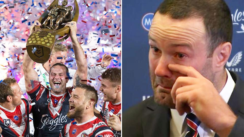 Pictured here, Boyd Cordner chokes back tears in his retirement press conference.