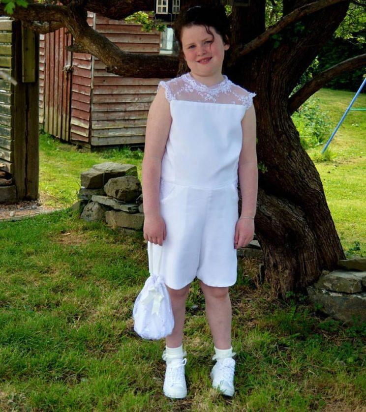 A little girl named Keelin didn't want to wear a dress for her communion ceremony, so she designed a romper. (Photo: Niamh Mythen)