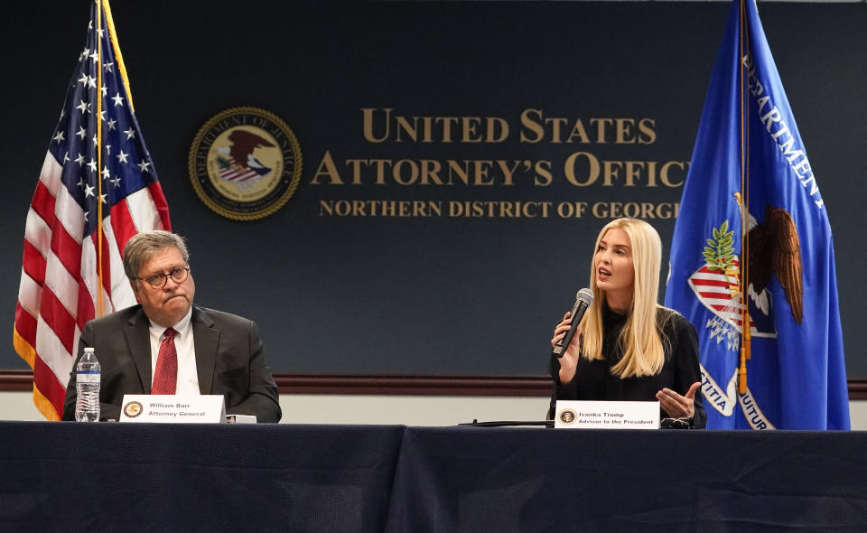 U.S. Attorney General William Barr and Ivanka Trump meet with federal officials for a panel discussion on combatting human trafficking at the U.S. Attorney's Office on Monday, Sept. 21, 2020, in Atlanta. (AP Photo/Brynn Anderson)