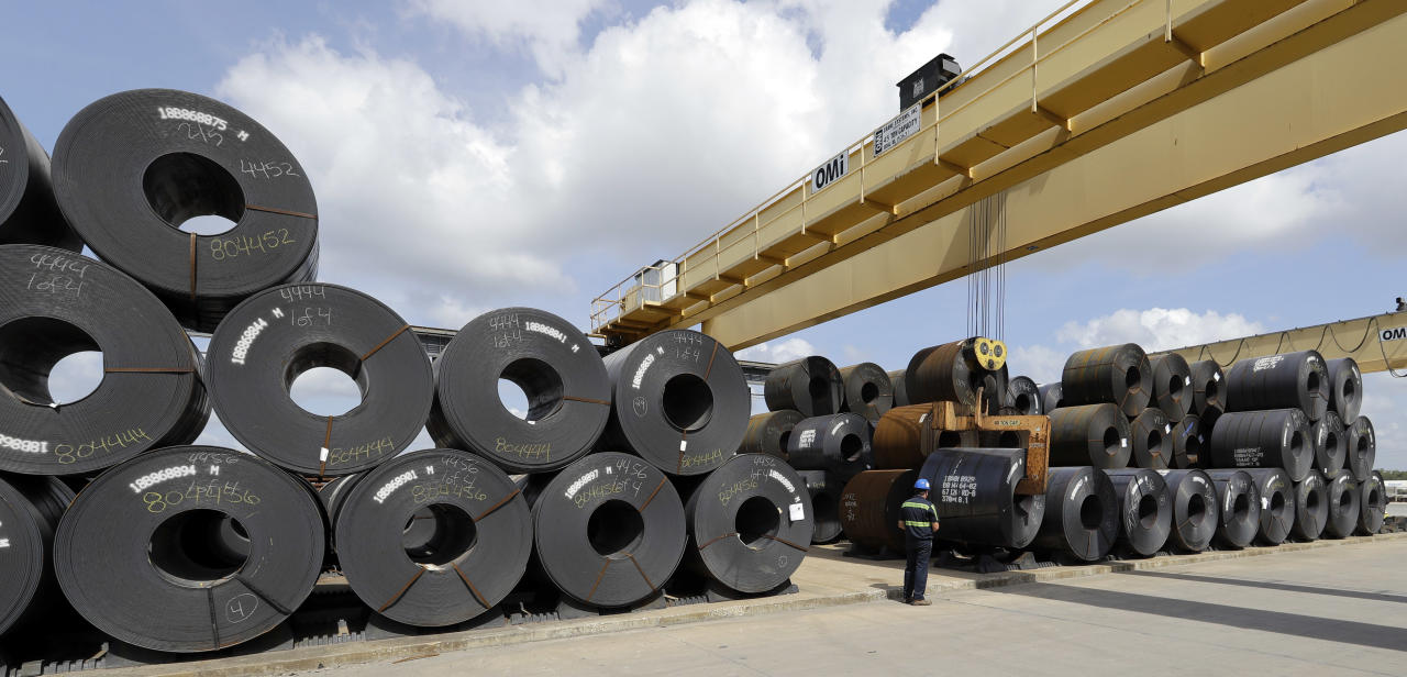 A roll of steel is unloaded at the Borusan Mannesmann Pipe manufacturing facility Tuesday, June 5, 2018, in Baytown, Texas. Borusan is seeking a waiver from the steel tariff to import 135,000 metric tons of steel tubing and casing annually over the next two years. (AP Photo/David J. Phillip)