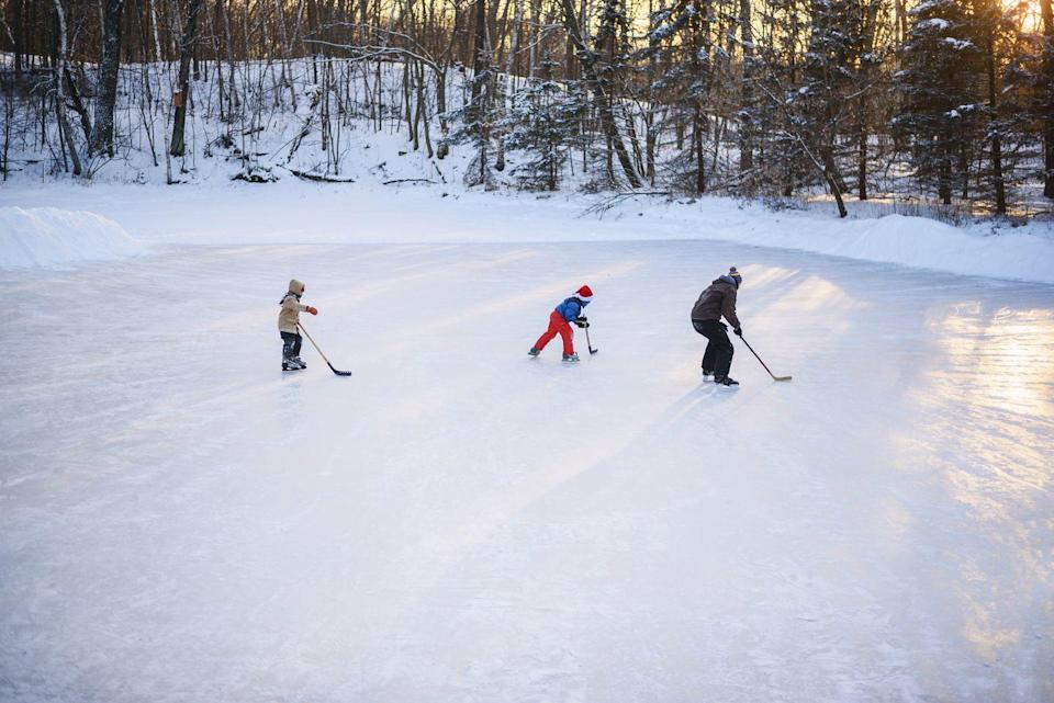 """<p>There's nothing like a little bit of friendly competition on the pond. Grab the kids and teens for a game of ice hockey—or simply take a couple laps with your partner. </p><p><a class=""""link rapid-noclick-resp"""" href=""""https://www.amazon.com/American-Athletic-Womens-Tricot-Skates/dp/B000LE215M/?tag=syn-yahoo-20&ascsubtag=%5Bartid%7C10072.g.34454588%5Bsrc%7Cyahoo-us"""" rel=""""nofollow noopener"""" target=""""_blank"""" data-ylk=""""slk:SHOP ICE SKATES"""">SHOP ICE SKATES</a></p>"""
