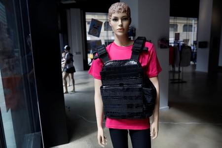 """A mannequin is seen wearing a bullet proof vest as part of an art installation by artist WhIsBe titled """"Back to School Shopping"""" to illustrate the dangers of gun violence in schools, at a gallery in New York City"""