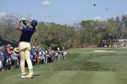 Rory McIlroy, of Northern Ireland, tees off on the second hole during the first round of the Arnold Palmer Invitational golf tournament Thursday, March 7, 2019, in Orlando, Fla. (AP Photo/Phelan M. Ebenhack)