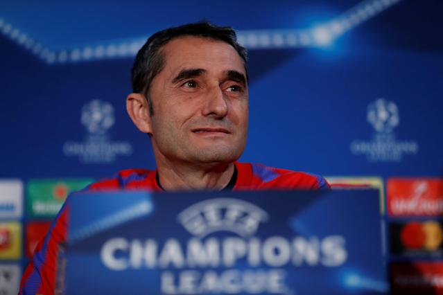 Soccer Football - Champions League - FC Barcelona Press Conference - Stamford Bridge, London, Britain - February 19, 2018 Barcelona coach Ernesto Valverde during the press conference Action Images via Reuters/Matthew Childs
