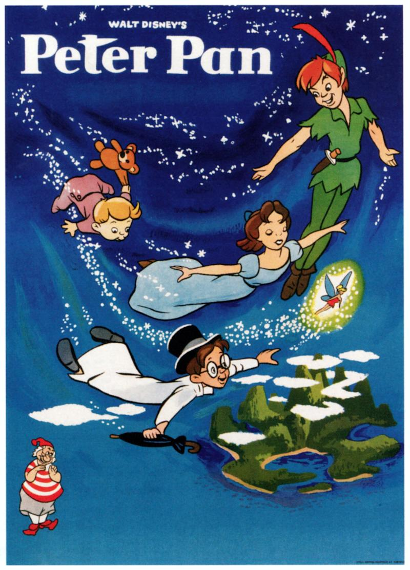 Peter Pan, poster, top from left: Michael Darling, John Darling, Wendy Darling, Tinkerbell, , bottom right: Mr Smee, 1953. (Photo by LMPC via Getty Images)