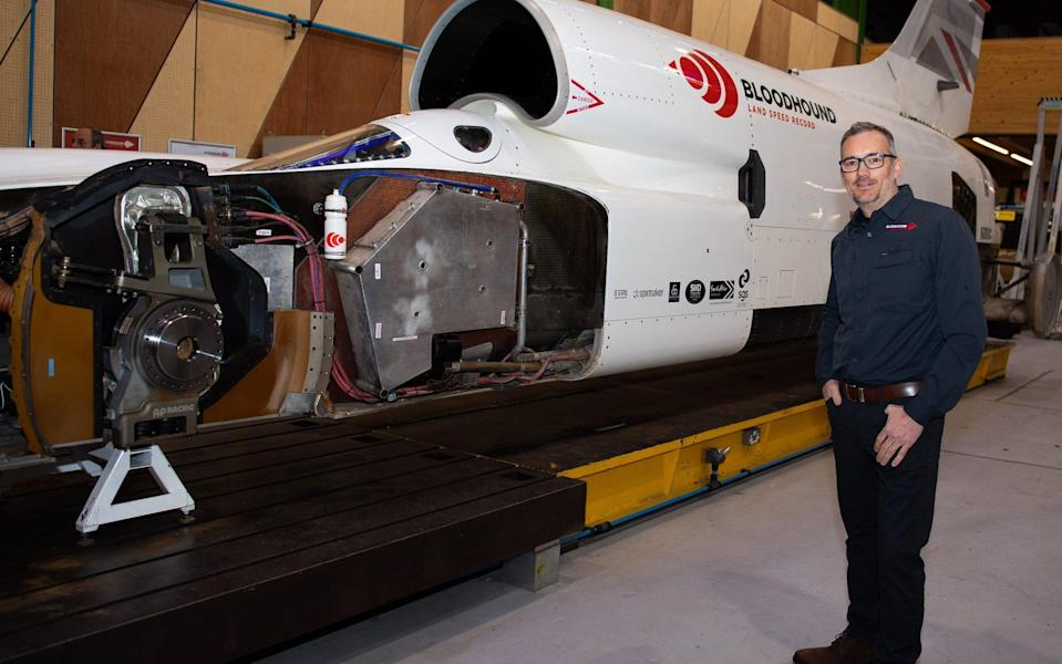 Bloodhound LSR owner and CEO Ian Warhurst in front of the Bloodhound LSR - Simon Galloway