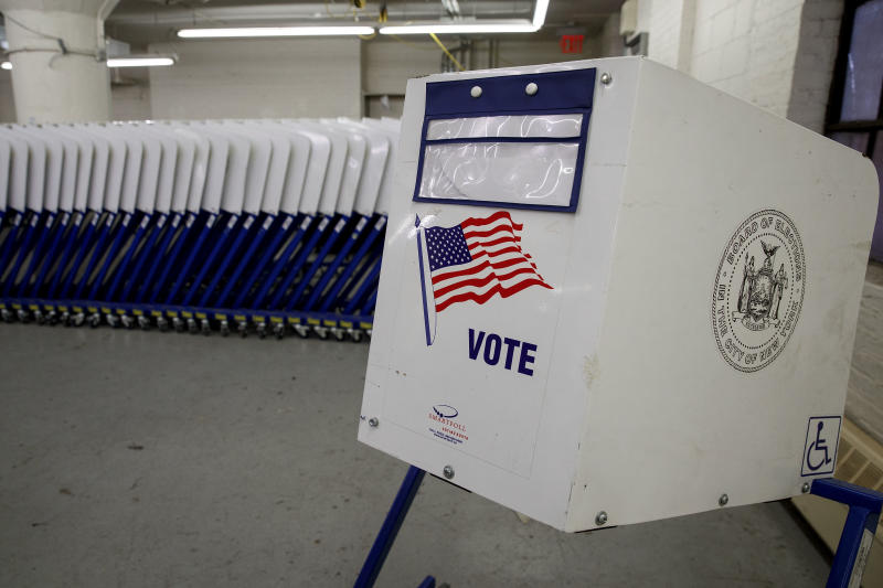 Voting booths sit at a New York City Board of Elections voting machine facility warehouse, November 3, 2016 in the Bronx borough in New York City. | Drew Angerer/Getty Images
