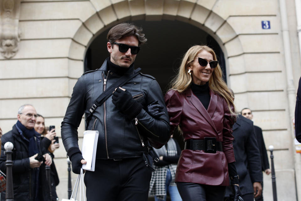 Singer Celine Dion and Pepe Munoz are seen leaving the GIVENCHY office building on Avenue George V on January 24, 2019 in Paris, France.  (Photo by Mehdi Taamallah/NurPhoto via Getty Images)