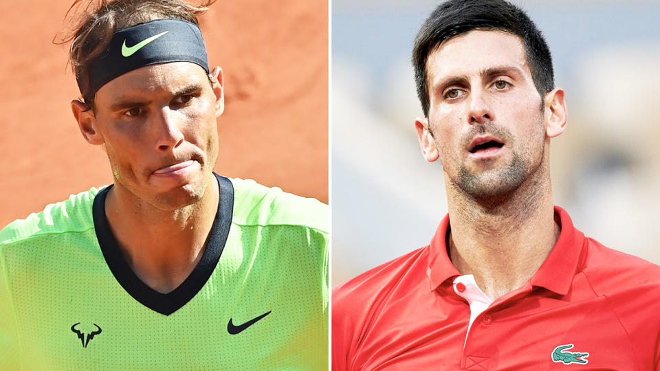 Rafa Nadal and Novak Djokovic, pictured here in action at the French Open.