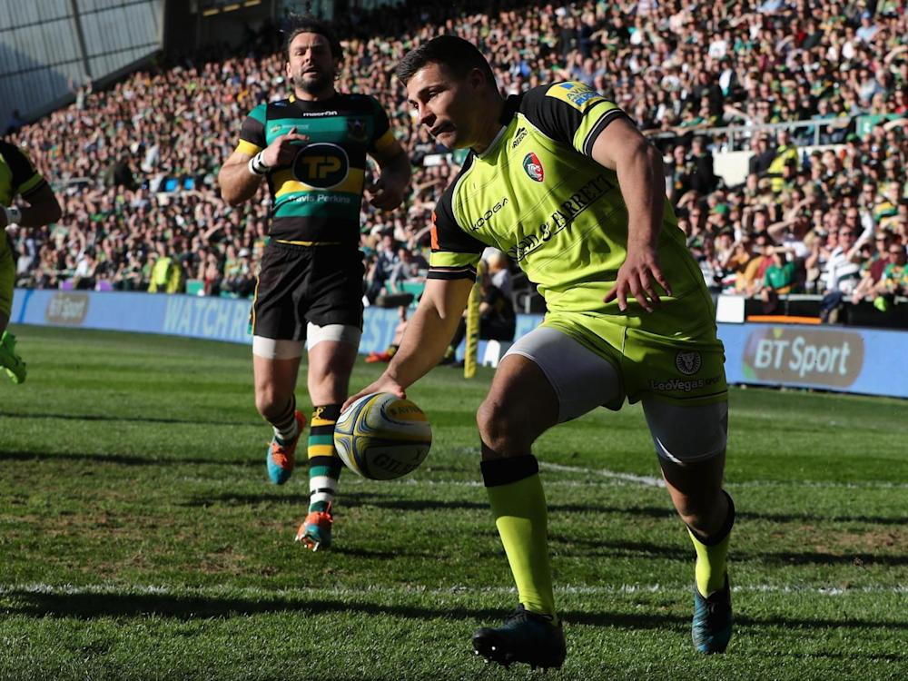 Youngs ran over for Leicester (Getty)