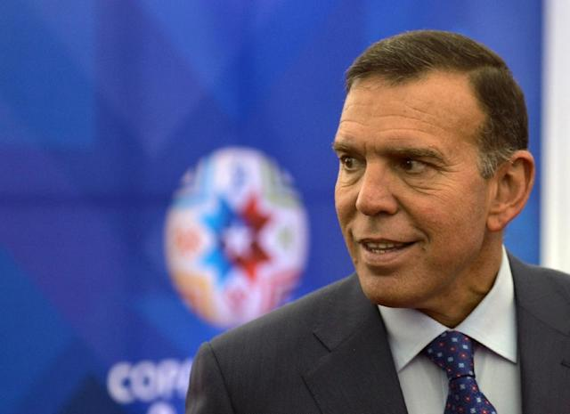 Juan Angel Napout, re-elected as CONMEBOL president, has been at the helm since August 2014 (AFP Photo/Claudio Reyes)