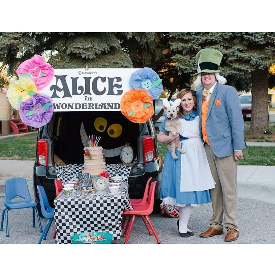 """<p>Get lost in the wonky world of <em>Alice in Wonderland</em>. Another great great theme that can be as customized as you want it to be, we love the <a href=""""https://www.amazon.com/piezas-crisantemo-manualidades-decoraci%C3%B3n-guarder%C3%ADa/dp/B07S612N15?tag=syn-yahoo-20&ascsubtag=%5Bartid%7C2089.g.33658548%5Bsrc%7Cyahoo-us"""" rel=""""nofollow noopener"""" target=""""_blank"""" data-ylk=""""slk:big paper flowers"""" class=""""link rapid-noclick-resp"""">big paper flowers</a>, <a href=""""https://www.amazon.com/Liberty-Imports-Porcelain-Ceramic-Pretend/dp/B00P2WEWPK?tag=syn-yahoo-20&ascsubtag=%5Bartid%7C2089.g.33658548%5Bsrc%7Cyahoo-us"""" rel=""""nofollow noopener"""" target=""""_blank"""" data-ylk=""""slk:tea set"""" class=""""link rapid-noclick-resp"""">tea set</a>, and that sneaky little Cheshire cat in the background. </p><p><a class=""""link rapid-noclick-resp"""" href=""""https://www.amazon.com/BRICHBROW-Premium-Checkered-Tablecloths-Tablecovers/dp/B07F1L5NNG?tag=syn-yahoo-20&ascsubtag=%5Bartid%7C2089.g.33658548%5Bsrc%7Cyahoo-us"""" rel=""""nofollow noopener"""" target=""""_blank"""" data-ylk=""""slk:Shop Checkered Tablecloth"""">Shop Checkered Tablecloth</a></p>"""