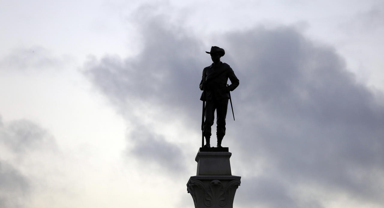 In this Monday, Aug. 21, 2017, photo, a Confederate Soldier Statue stands tall on the Texas Brigade monument on the east side of the Texas State Capitol in Austin, Texas. The Civil War lessons taught to American students often depend on where the classroom is, with schools presenting accounts of the conflict that vary from state to state and even district to district. (AP Photo/Eric Gay)