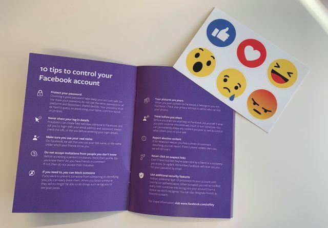 Facebook's tips book and stickers.