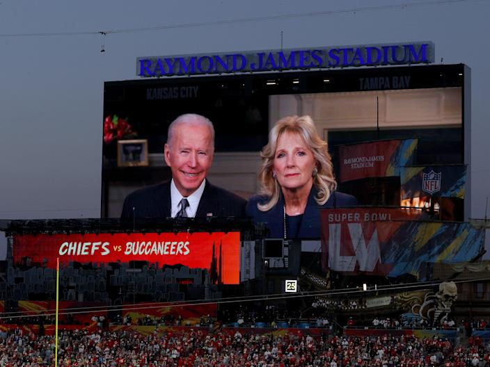 President Joe Biden and Dr Jill Biden deliver an address at Super Bowl LV (Kevin C Cox/Getty Images)