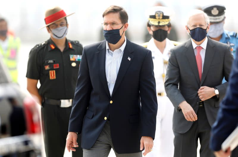 U.S. Secretary of Defence Mark Esper arrives in New Delhi
