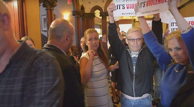 The group began chanting at steakhouse diners until it was escorted from the building. Photo: YouTube