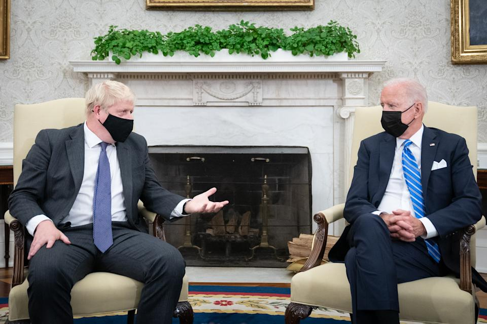 Prime Minister Boris Johnson meets US President Joe Biden in the Oval Office of the White House, Washington DC, during his visit to the United States for the United Nations General Assembly. Picture date: Tuesday September 21, 2021.