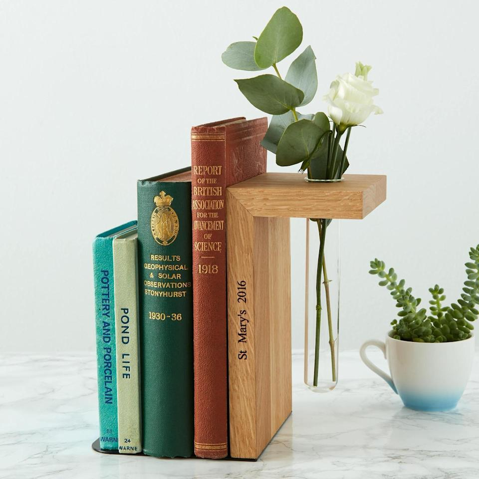 <p>We love everything about this <span>Solid Oak Personalised Bookend</span> ($41).</p>
