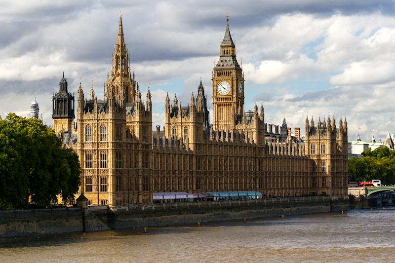 Exteriors of the Houses of Parliament in London, UK
