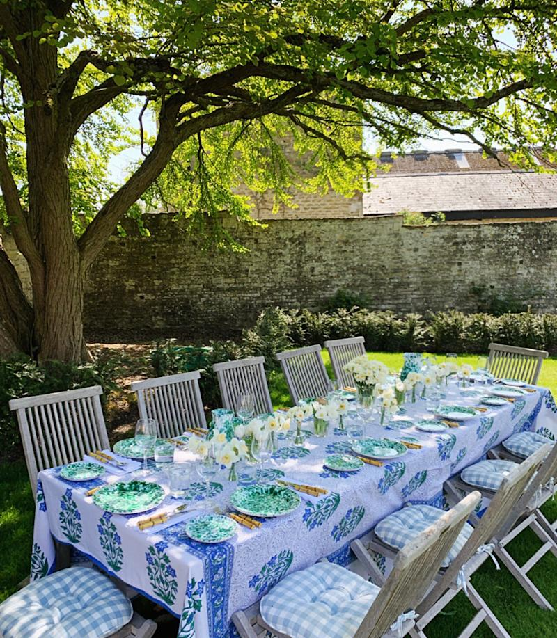 Back home for a garden lunch under this shady tree using my husband's favourite Tuscan plates.