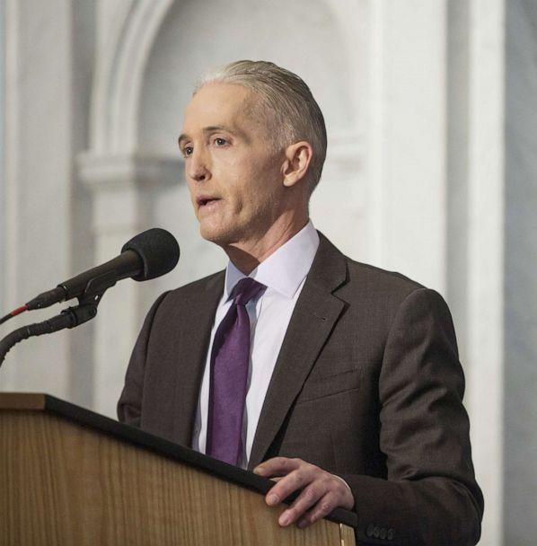 PHOTO: Representative Trey Gowdy delivers a farewell address at the Library of Congress in Washington, D.C., Dec. 19, 2018. (Zach Gibson/Bloomberg via Getty Images, FILE)