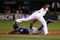 ST LOUIS, MO - OCTOBER 19: Ian Kinsler #5 of the Texas Rangers is caught stealing at second base by Rafael Furcal #15 of the St. Louis Cardinals during Game One of the MLB World Series at Busch Stadium on October 19, 2011 in St Louis, Missouri. (Photo by Rob Carr/Getty Images)
