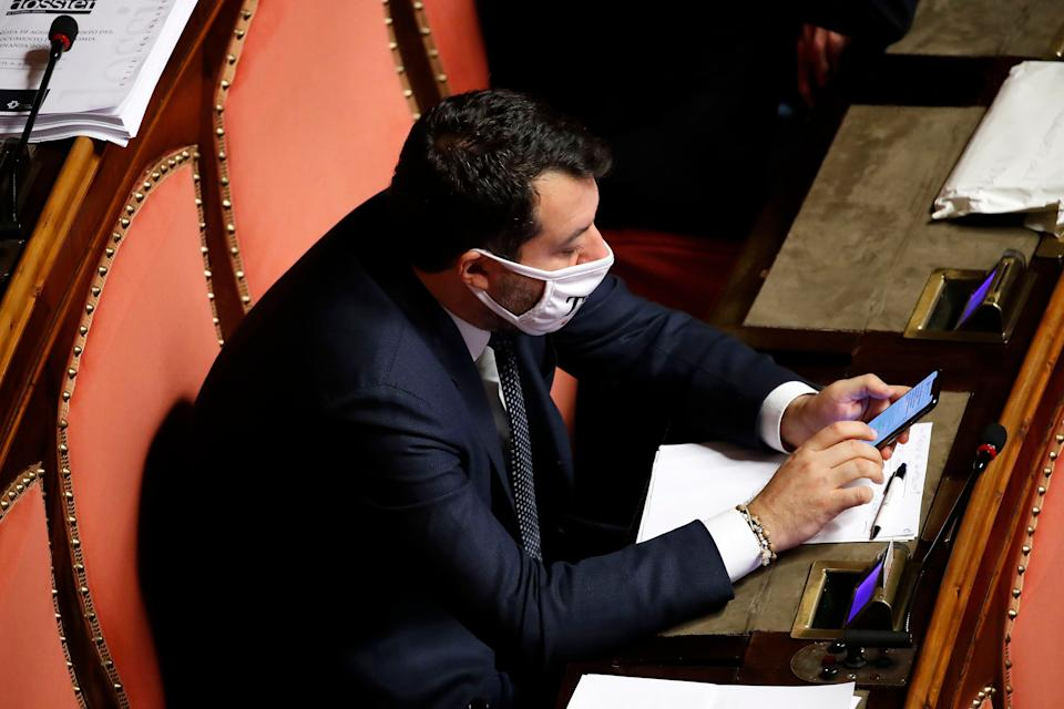 Italian senator Matteo Salvini during the session in the Senate for Communications on the epidemiological situation and possible measures to deal with the emergency from Covid-19. Rome (Italy), November 2nd, 2020 (Photo by Massimo Di Vita/Archivio Massimo Di Vita/Mondadori Portfolio via Getty Images) (Photo: Mondadori Portfolio via Getty Images)