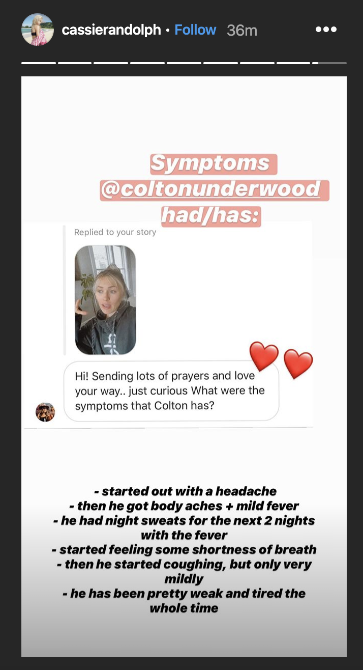 Cassie Randolph explained the symptoms Colton Undrwood experienced before he tested positive for the coronavirus. (Photo: Instagram)