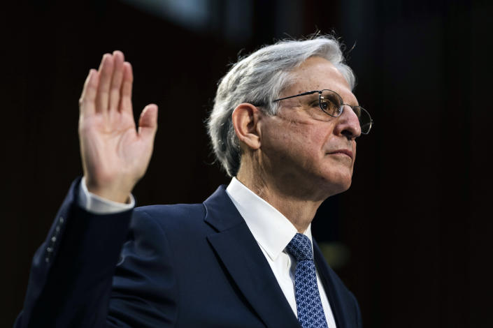 Judge Merrick Garland, nominee to be Attorney General, testifies at his confirmation hearing before the Senate Judiciary Committee, Monday, Feb. 22, 2021 on Capitol Hill in Washington. (Demetrius Freeman/The Washington Post via AP, Pool)