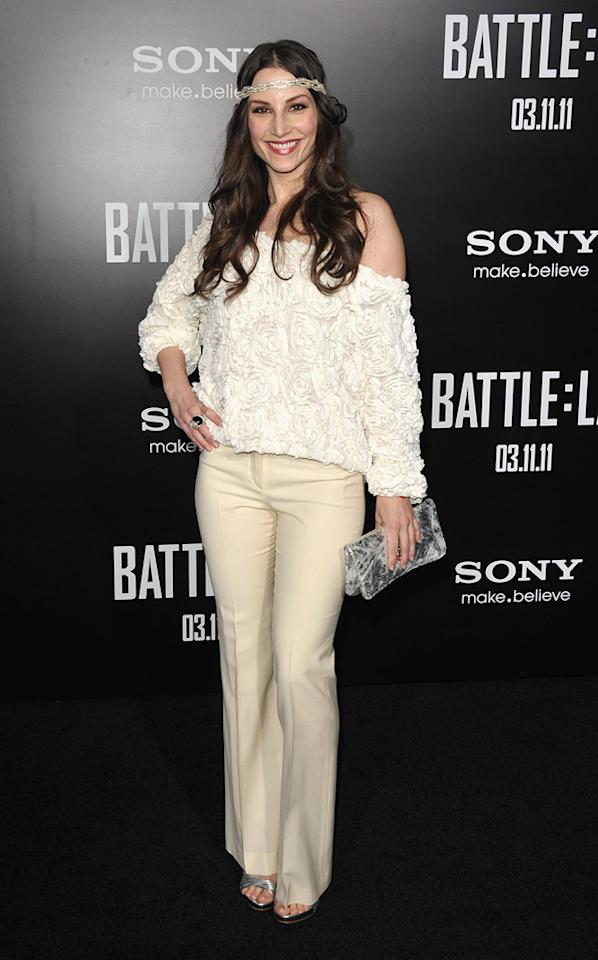 """<a href=""""http://movies.yahoo.com/movie/contributor/1800349131"""">Heather McComb</a> at the Los Angeles premiere of <a href=""""http://movies.yahoo.com/movie/1810119633/info"""">Battle: Los Angeles</a> on March 8, 2011."""