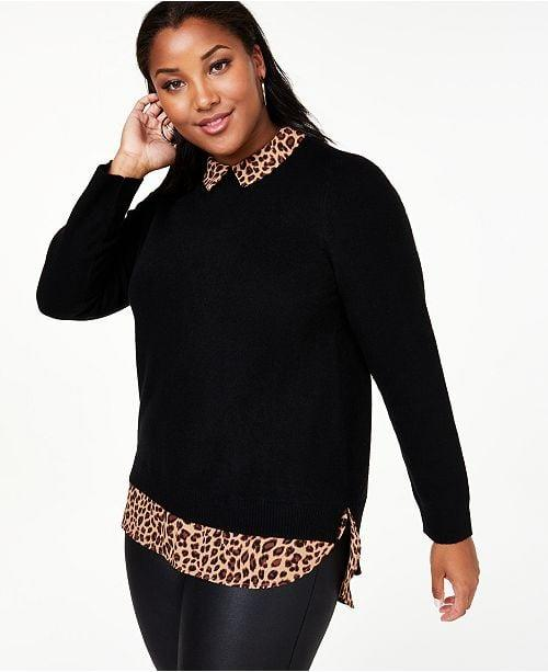 """<p>This <a href=""""https://www.popsugar.com/buy/Charter-Club-Cashmere-Layered-Look-Sweater-493670?p_name=Charter%20Club%20Cashmere%20Layered-Look%20Sweater&retailer=macys.com&pid=493670&price=199&evar1=fab%3Aus&evar9=46670552&evar98=https%3A%2F%2Fwww.popsugar.com%2Fphoto-gallery%2F46670552%2Fimage%2F46670669%2FCharter-Club-Cashmere-Layered-Look-Sweater&list1=shopping%2Cfall%20fashion%2Csweaters%2Cfall%2Ccurve%2Cmacys%2Ccurve%20fashion&prop13=api&pdata=1"""" rel=""""nofollow"""" data-shoppable-link=""""1"""" target=""""_blank"""" class=""""ga-track"""" data-ga-category=""""Related"""" data-ga-label=""""https://www.macys.com/shop/product/charter-club-plus-size-cashmere-layered-look-sweater-created-for-macys?ID=9503601&amp;CategoryID=40227"""" data-ga-action=""""In-Line Links"""">Charter Club Cashmere Layered-Look Sweater</a> ($199) looks like two tops in one!</p>"""