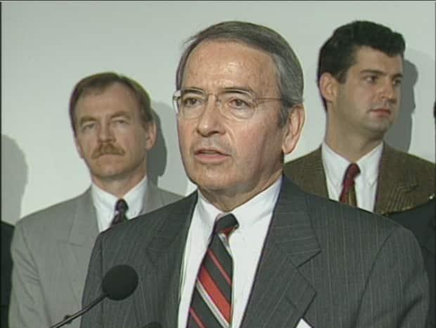 Former Vancouver mayor Philip Owen pictured at a press conference in 1997. Owen's legacy includes steering pioneering harm-reduction policy through Vancouver council at the start of the century. (CBC - image credit)