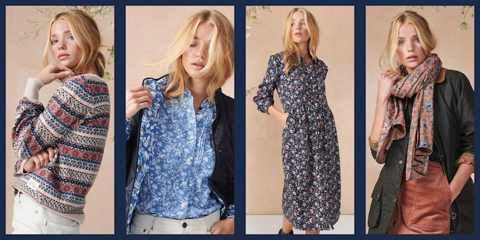 """<p>Anglophile style lovers, take note—the collaboration you never knew you needed is here to make all of your classic British style dreams come true. Barbour, the much-loved (not to mention <a href=""""https://www.townandcountrymag.com/society/tradition/g32379892/meghan-markle-queen-elizabeth-royal-family-barbour-photos/"""" rel=""""nofollow noopener"""" target=""""_blank"""" data-ylk=""""slk:royal approved"""" class=""""link rapid-noclick-resp"""">royal approved</a>) British heritage brand best known for their waxed cotton jackets, preppy sweaters, and quilted vests has teamed up with British interior and fashion label Laura Ashley, whose charming floral patterns have been having a major fashion moment in recent seasons, to craft a collection that's sure to instantly ear a spot on every preppy style lover's wishlist. </p><p>Featuring some of Barbour's classic silhouettes (yes, including jackets) in the brand's signature shades of olive and navy and lined with two signature patterns pulled from the Laura Ashley archive. The first design, Shepherd's Purse, is filled with delicate heart-shaped seedpods that inspired the pattern's name and was first introduced in 1976. The second, Indienne, includes an Indian textile pattern dating from the 17th century, which Laura Ashley first began using in 1985. Along with lining the interiors of jackets and vests, the patterns are also available on Zoom meeting-ready shirts, stylish dresses, outfit-making scarves, and <a href=""""https://www.townandcountrymag.com/style/fashion-trends/g28689803/cute-thanksgiving-sweaters/"""" rel=""""nofollow noopener"""" target=""""_blank"""" data-ylk=""""slk:cozy sweaters"""" class=""""link rapid-noclick-resp"""">cozy sweaters</a> that are perfect for your Thanksgiving family photos. <br></p><p>Below, check out some of our favorite looks from the collection.</p>"""