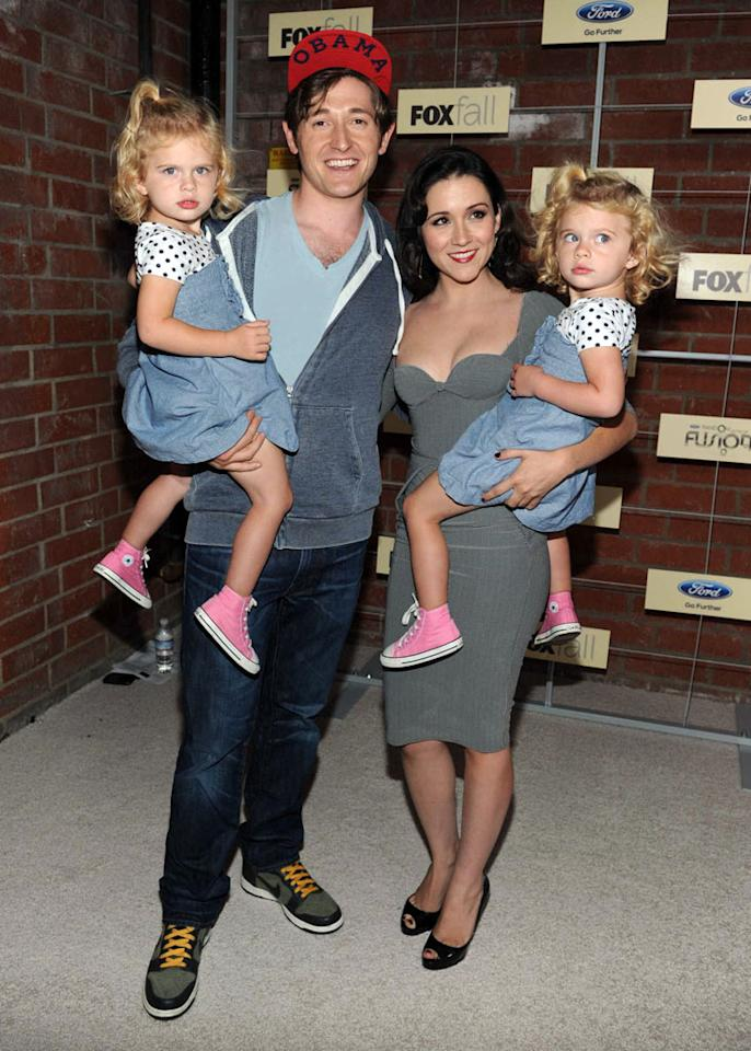 "Rylie Cregut, Lucas Neff, Shannon Woodward, and Baylie Cregut (""Raising Hope"") attend Fox's Fall 2012 Eco-Casino party at The Bookbindery on September 10, 2012 in Culver City, California."