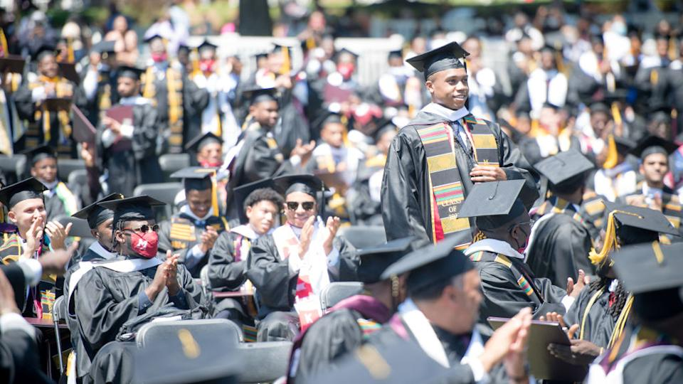 ATLANTA, GEORGIA - MAY 16: A general view of the graduates from 2020 and 2021 during the 137th Commencement at Morehouse College on May 16, 2021 in Atlanta, Georgia. (Photo by Marcus Ingram/Getty Images)