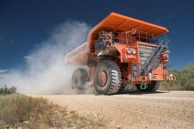 A large earthmover truck in Goodyear's fleet of test vehicles evaluates off-the-road tires.