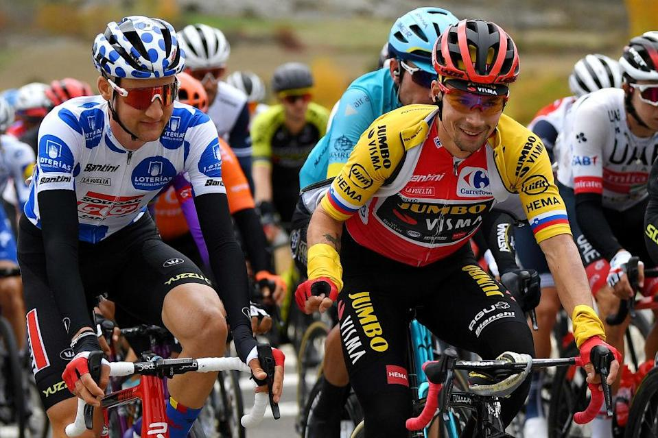 SALLENT DE GLLEGO SPAIN  OCTOBER 25 Tim Wellens of Belgium and Team Lotto Soudal Polka Dot Mountain Jersey  Primoz Roglic of Slovenia and Team Jumbo  Visma Red Leader Jersey  during the 75th Tour of Spain 2020  Stage 6 a 1464km stage from Biescas to Sallent de Gllego  Aramn Formigal 1790m  lavuelta  LaVuelta20  La Vuelta  on October 25 2020 in Sallent de Gllego Spain Photo by David RamosGetty Images
