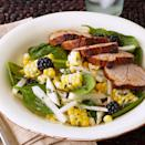<p>In this healthy and quick recipe, slices of roasted pork tenderloin are served on a bed of baby spinach alongside a colorful salad of fresh corn kernels, jicama, and blackberries.</p>