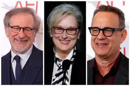 FILE PHOTO: A combination photo shows Director Steven Spielberg, Actress Meryl Streep and Actor Tom Hanks, in Los Angeles, California, U.S., January 5, 2018, June 8, 2017 and January 5, 2018, respectively. REUTERS/Mario Anzuoni/File Photo