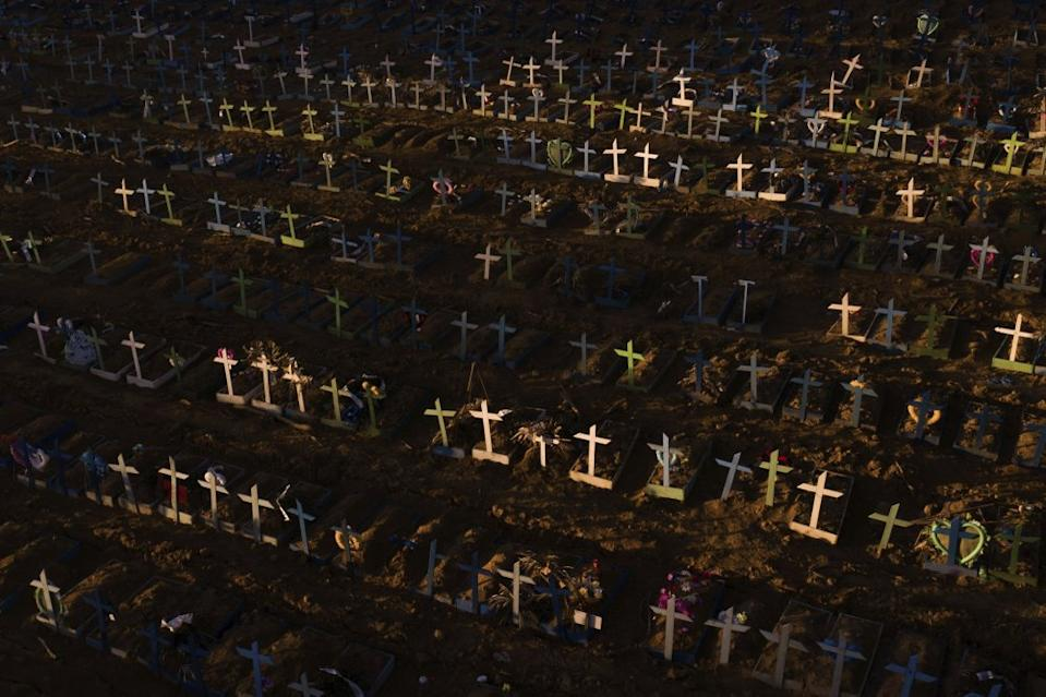 Crosses mark the graves of those who have passed away since early April, filling a new section of the Nossa Senhora Aparecida public cemetery in Brazil. Source: AP