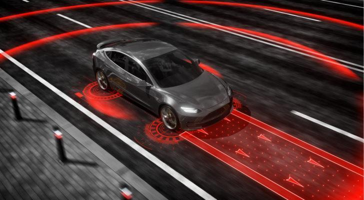 Concept image of a self-driving car lidar system.