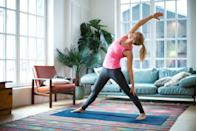 """<p>Getting your Om on won't burn as many calories as a hilly run or lifting weights, but it can help build muscle and improve your endurance, which are all crucial for boosting your metabolism. Some of the <a href=""""https://www.prevention.com/fitness/g20476942/7-yoga-poses-that-burn-the-most-calories/"""" rel=""""nofollow noopener"""" target=""""_blank"""" data-ylk=""""slk:highest calorie-blasting yoga poses"""" class=""""link rapid-noclick-resp"""">highest calorie-blasting yoga poses</a> include plank, chair, Chaturanga, and wheel. New to yoga and aren't sure where to start? Learn more about the different <a href=""""https://www.prevention.com/fitness/workouts/a23931085/types-of-yoga/"""" rel=""""nofollow noopener"""" target=""""_blank"""" data-ylk=""""slk:types of yoga"""" class=""""link rapid-noclick-resp"""">types of yoga</a> to help you find the best practice that fits your workout goals. </p>"""