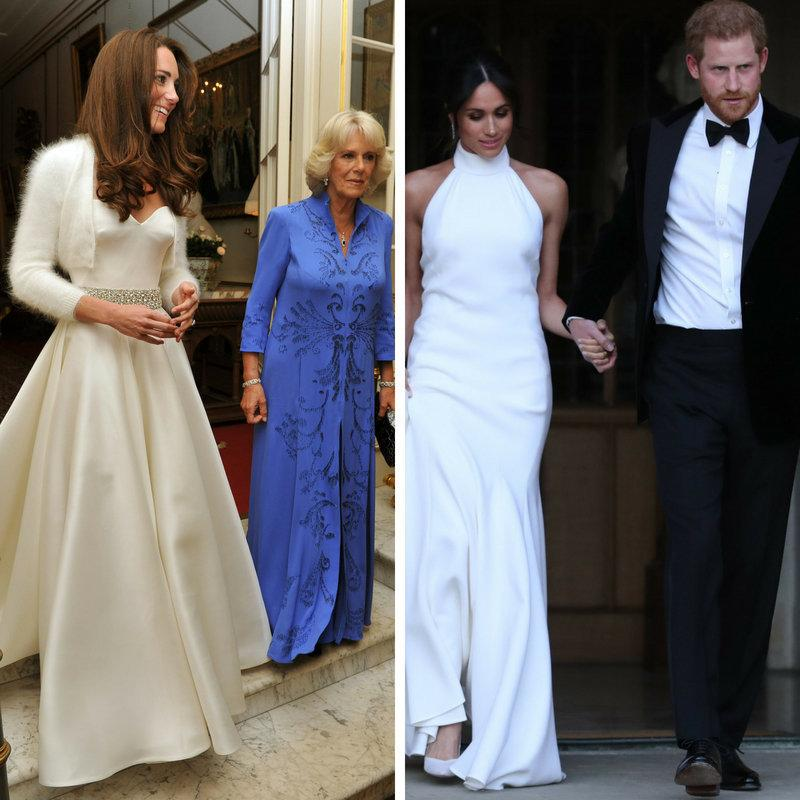 The two royal brides' evening choices. (Steve Parsons/AFP/Getty Images; John Stillwell/Reuters)