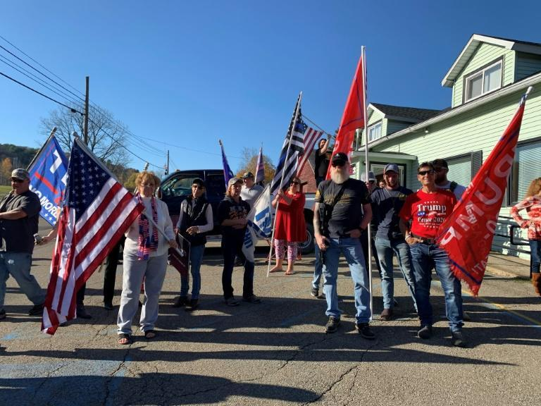 Supporters of US President Donald Trump outside Jones Diner in Towanda, Pennsylvania