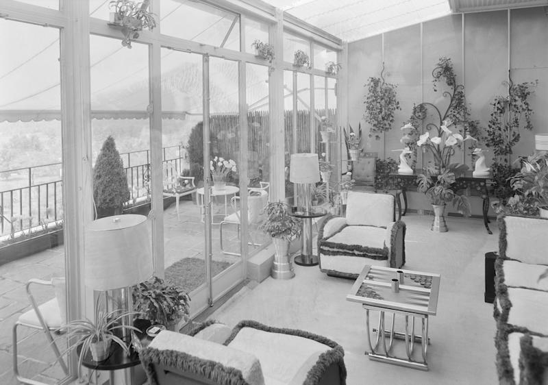 Overlooking the terrace of Elizabeth Arden's penthouse at 834 Fifth Avenue, 1933. Photograph by Samuel H. Gottscho.