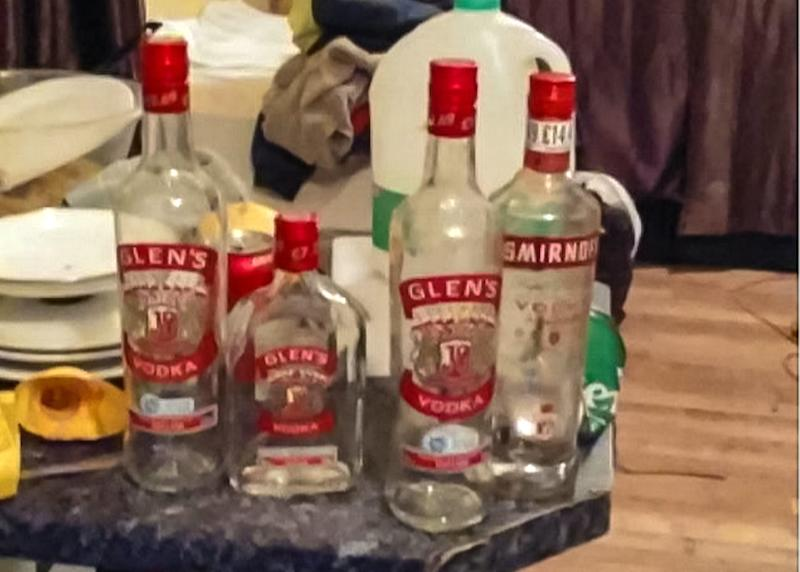 There were several bottles of alcohol among the mess left by the tradesmen. (SWNS)